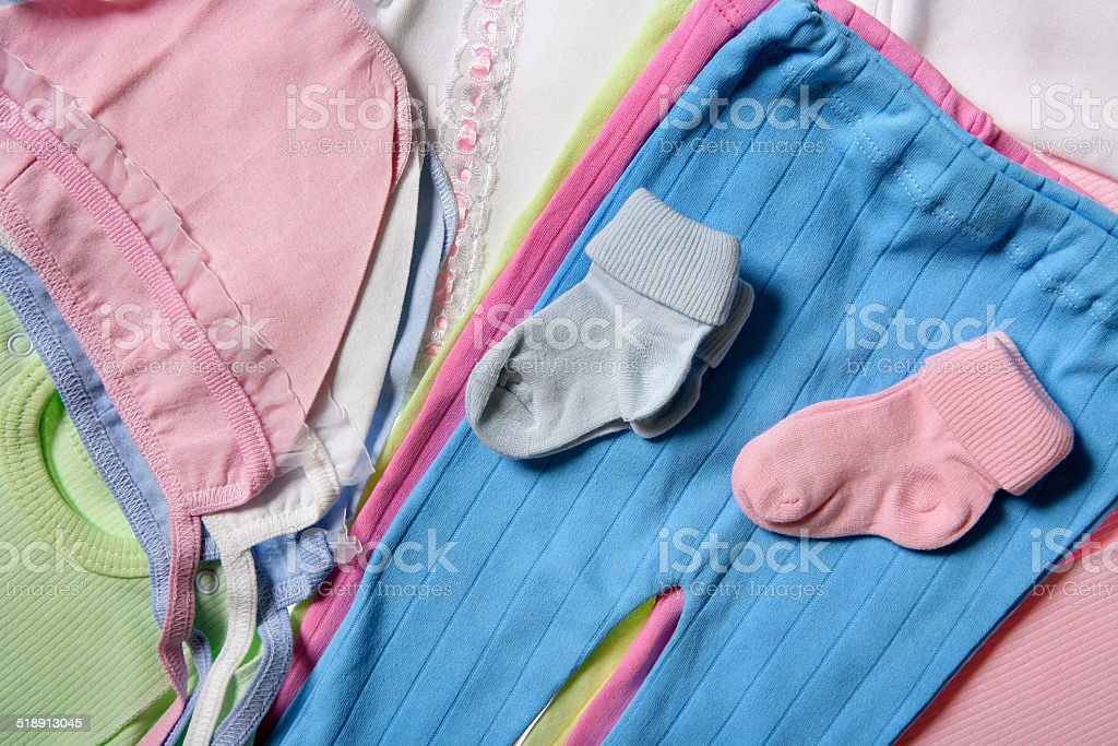 Clothing for a baby stock photo