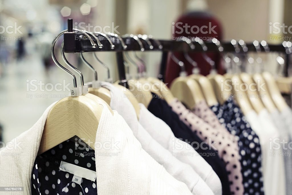 Clothing in Fashion Store stock photo