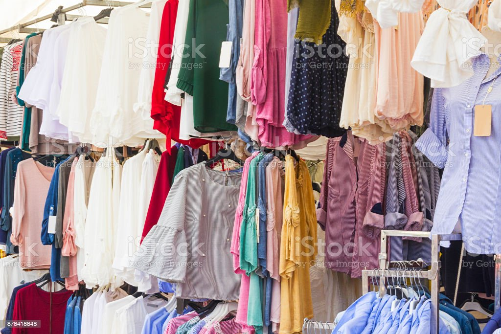 Clothing market on the street royalty-free stock photo