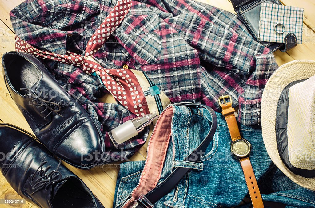Clothing of young men remove the clutter. royalty-free stock photo