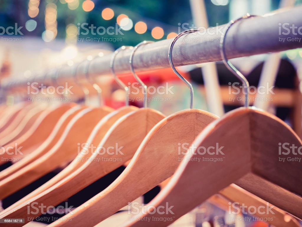 Clothing on Hangers Fashion retail Display Shop Outdoor Market event stock photo
