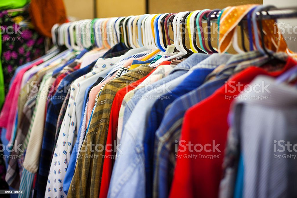 Clothing Rack at a Thrift Store stock photo