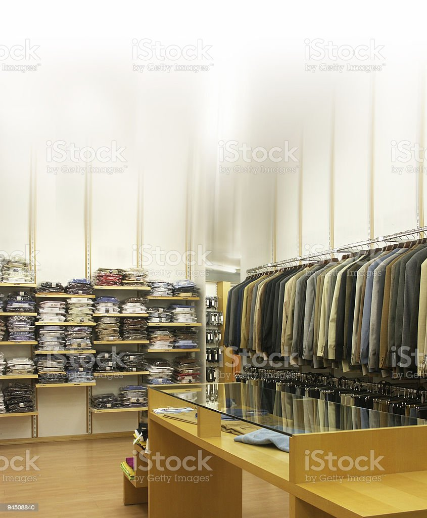 Clothing sales point men stock photo