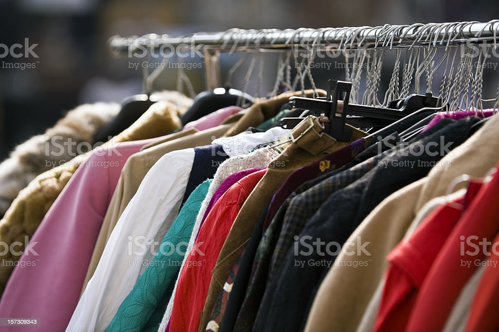 Clothing Second Hand. Color Image stock photo