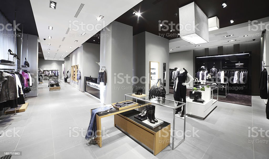 Clothing shop in Europe in gray tones with colorful accents stock photo
