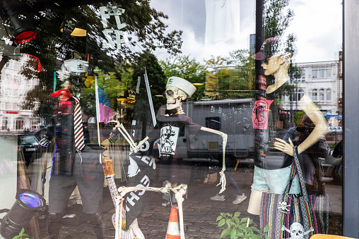 Clothing store with skulls in St. Pauli, Hamburg, Germany