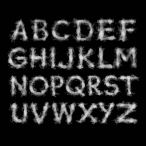 cloud alphabet on black background - alphabet stock pictures, royalty-free photos & images