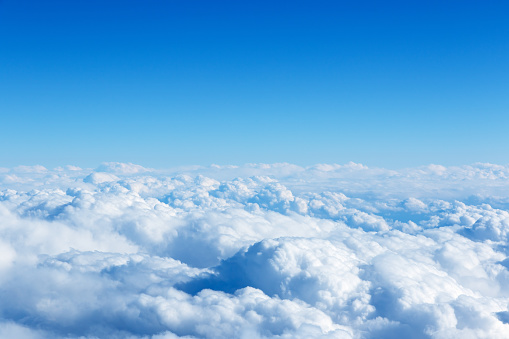 istock Cloud and blue sky from the airplane windows 680906456