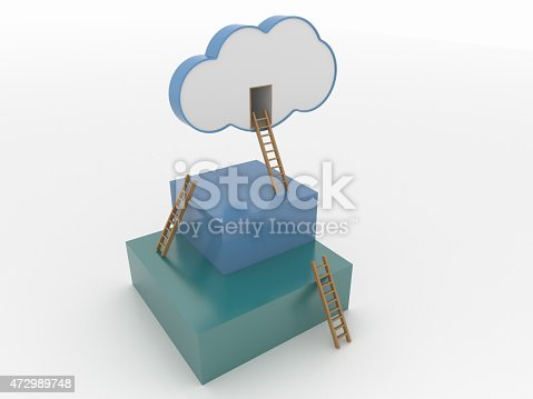 472923810 istock photo Cloud and Cubes with Ladders, Cloud Computing 3D Concept 472989748