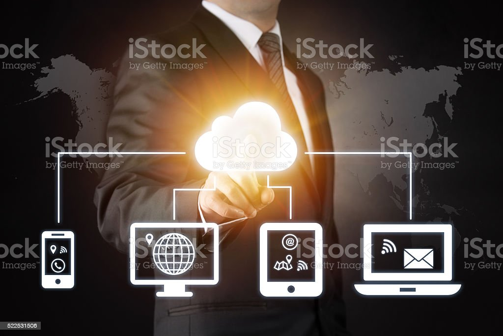 Cloud and data sharing stock photo