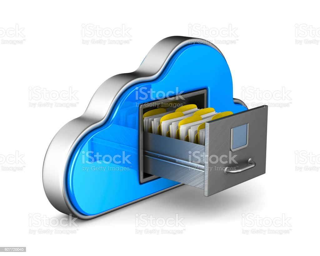 Cloud und Aktenschrank auf weißem Hintergrund. Isolierte 3D-Illustration – Foto