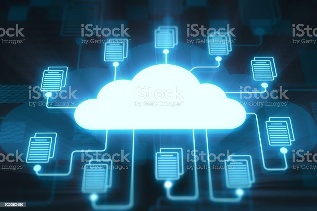 Cloud and folders on digital display stock photo