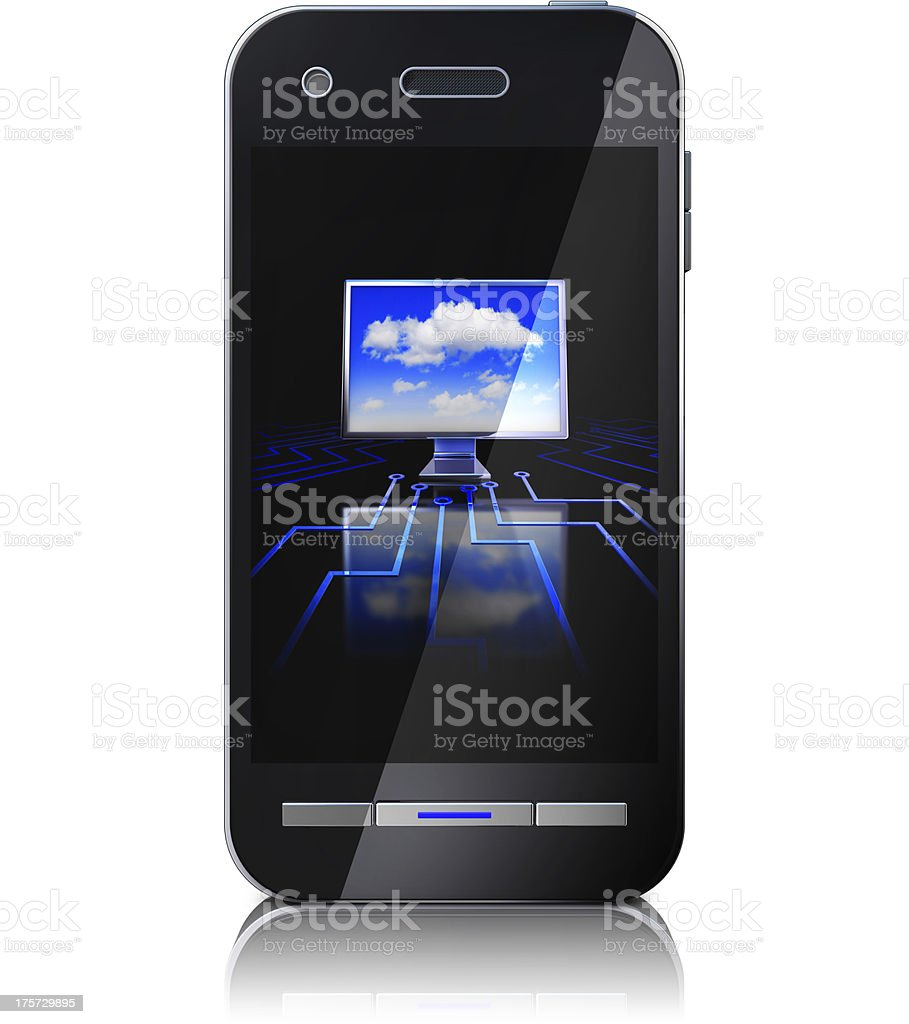 cloud and smartphone royalty-free stock photo