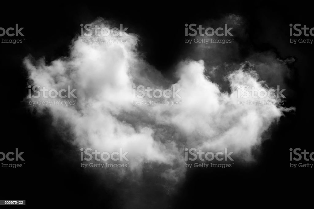 cloud and smoke isolated on black, background and texture stock photo