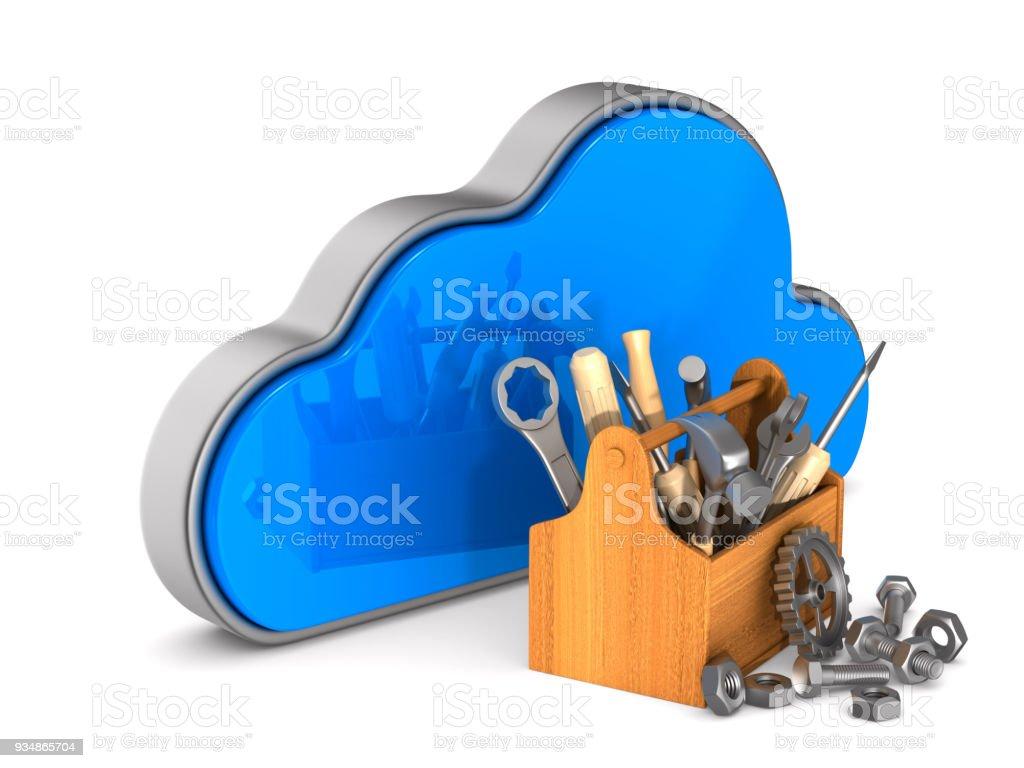 Cloud und Toolbox auf weißem Hintergrund. Isolierte 3D-Illustration – Foto