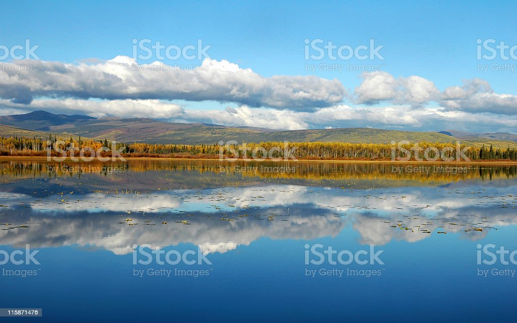 Cloud and tree reflections,Gravel Lake,Territory,Canada royalty-free stock photo