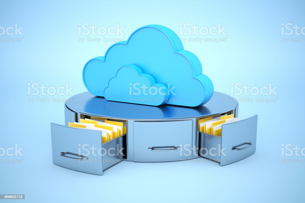 Cloud archive. Cloud computing concept stock photo