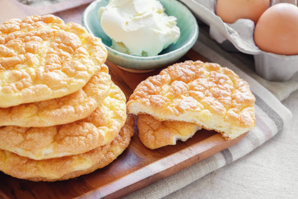Cloud bread, Oopsie bread , Keto, ketogenic diet, paleo, low carb high fat stock photo