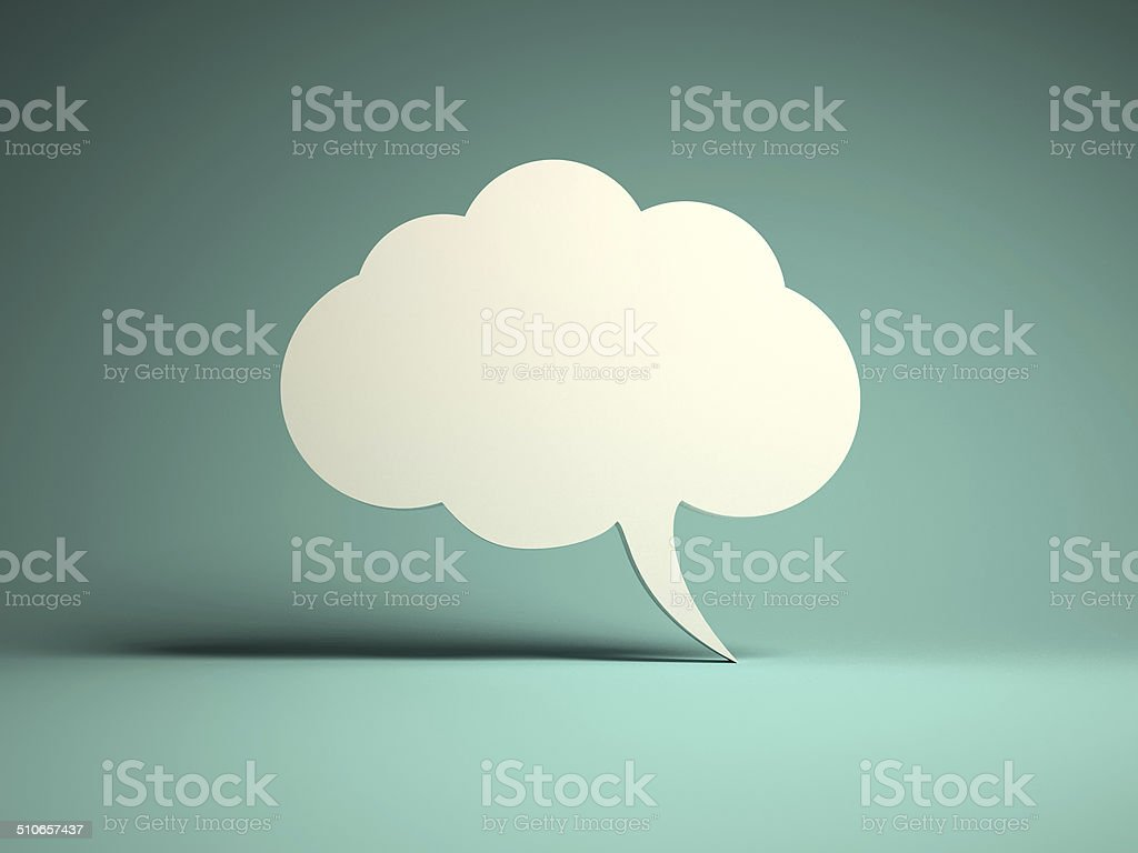 Cloud bubble icon for message stock photo