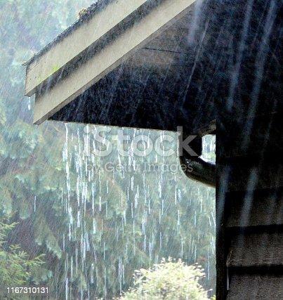 Heavy rain falling on roof