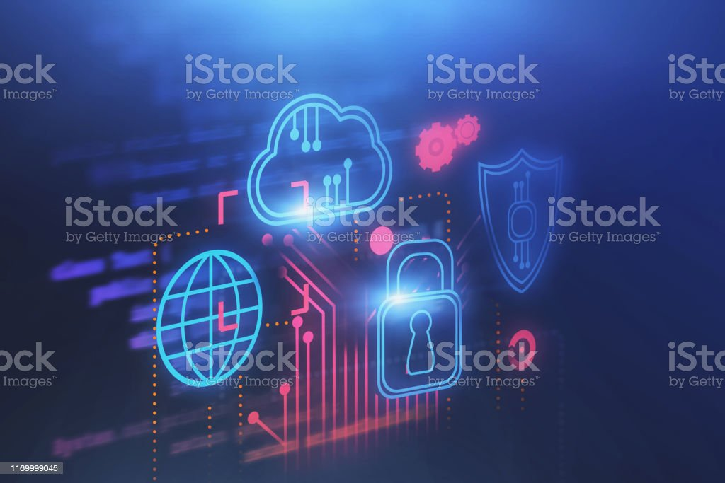 Cloud computer and cyber security background Cyber security and cloud computing immersive interface with circuits and blurred lines of code. Concept of data protection and hi tech. 3d rendering toned image double exposure Abstract Stock Photo