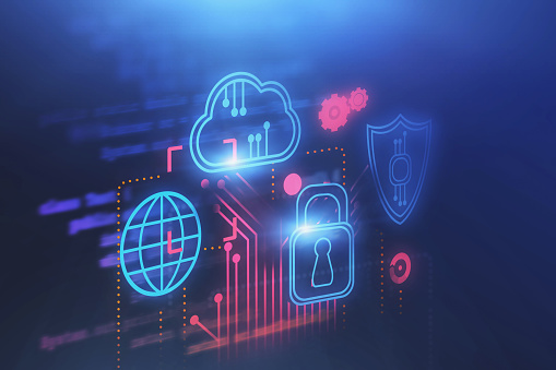 Cloud Computer And Cyber Security Background Stock Photo - Download Image Now