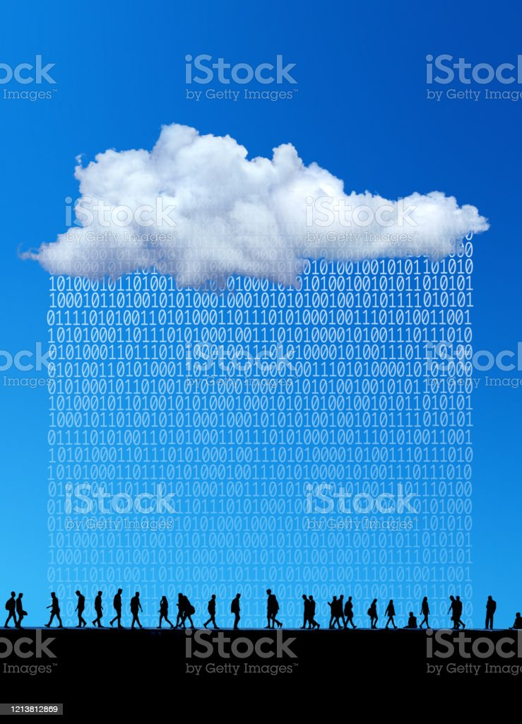 cloud computing and artificial intelligent technology conceptual white clouds and large group of silhouetted people with binary code of one and zero over blue sky. Abstract Stock Photo