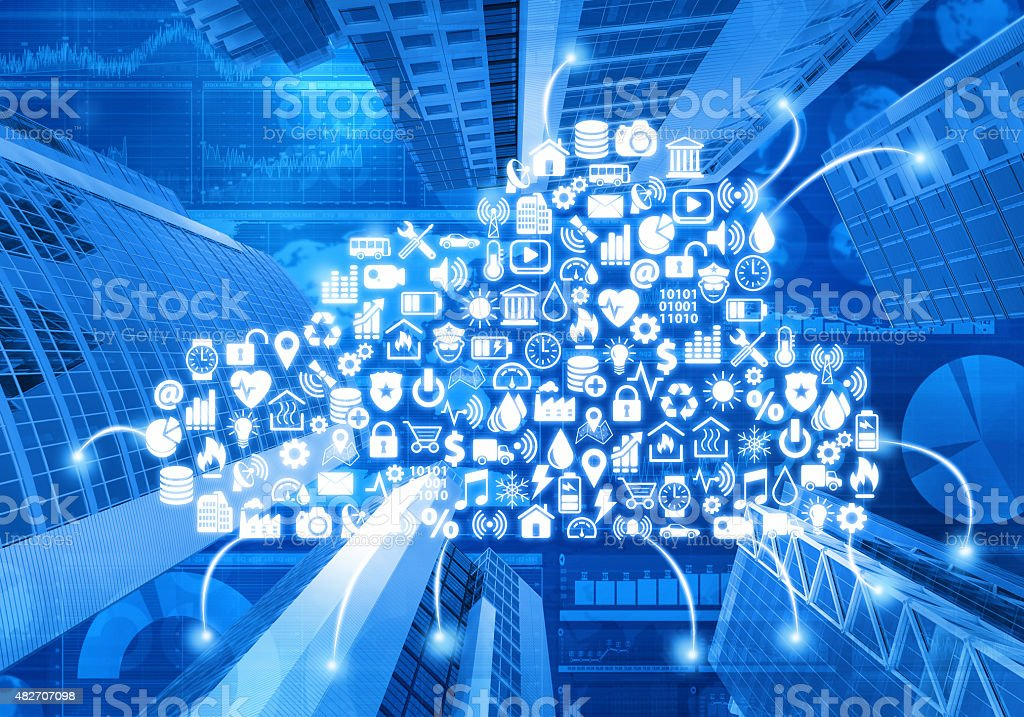 Cloud computing and building automation icons, financial data stock photo