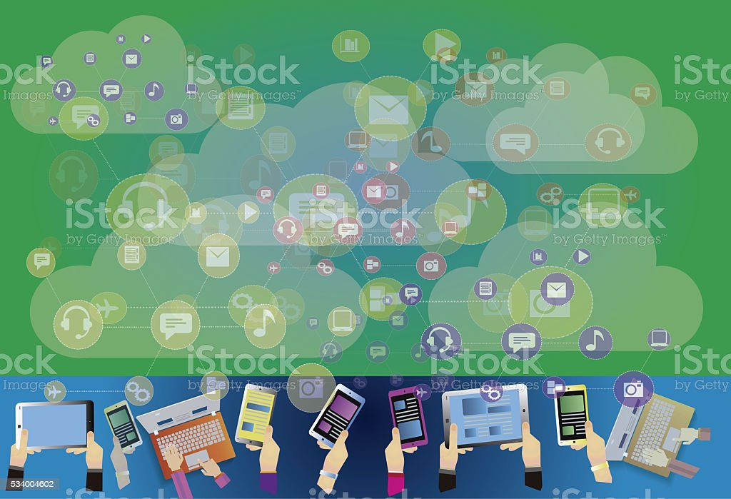 cloud computing and file sharing with multiple devices stock photo