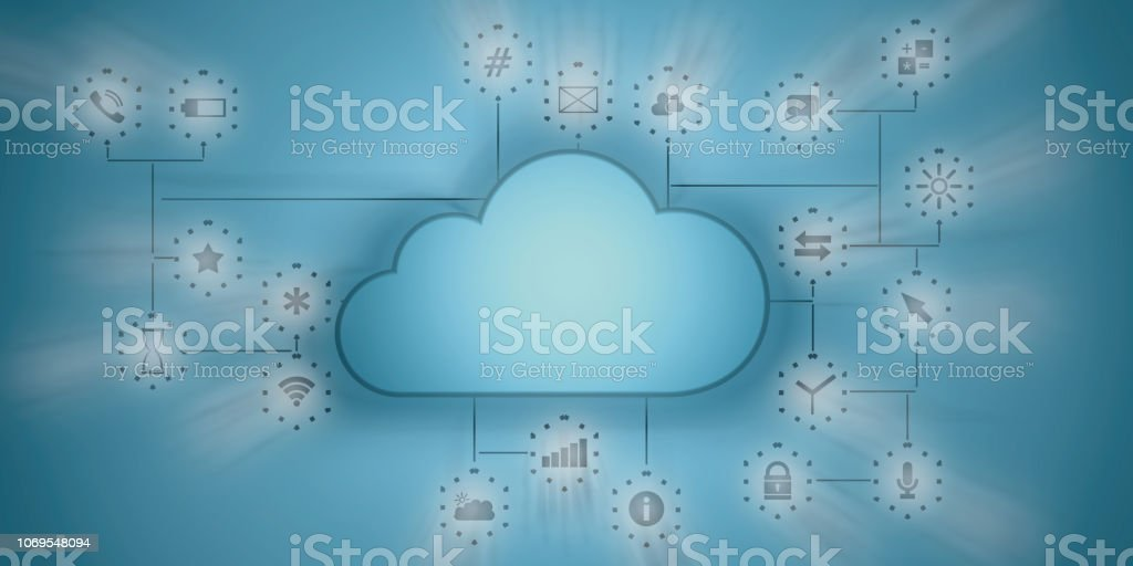 Cloud computing and mobile apps. Blue clouds on blue wall with app...