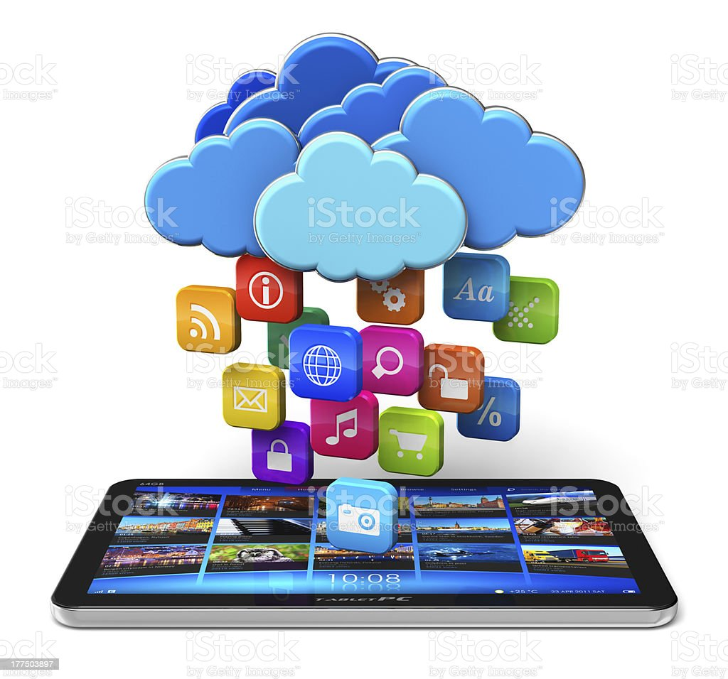 Cloud computing and mobility concept stock photo