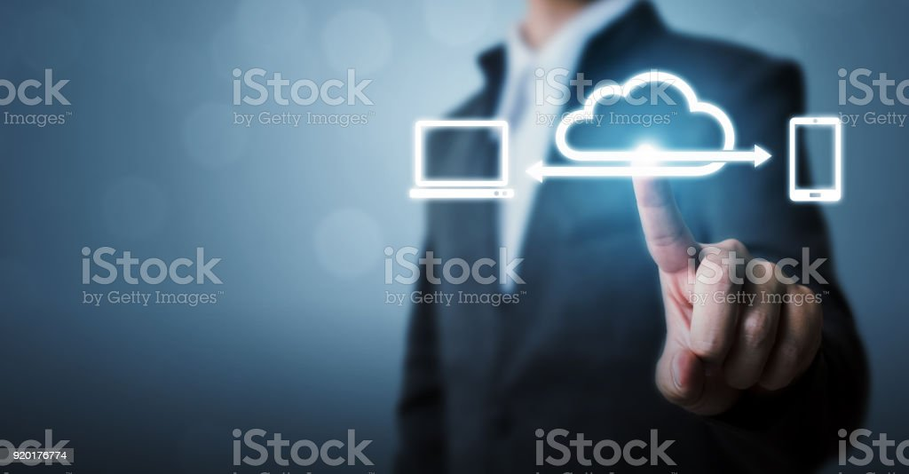 Cloud computing and technology network connection concept, Businessman hand holding icon cloud server tranfer data device stock photo