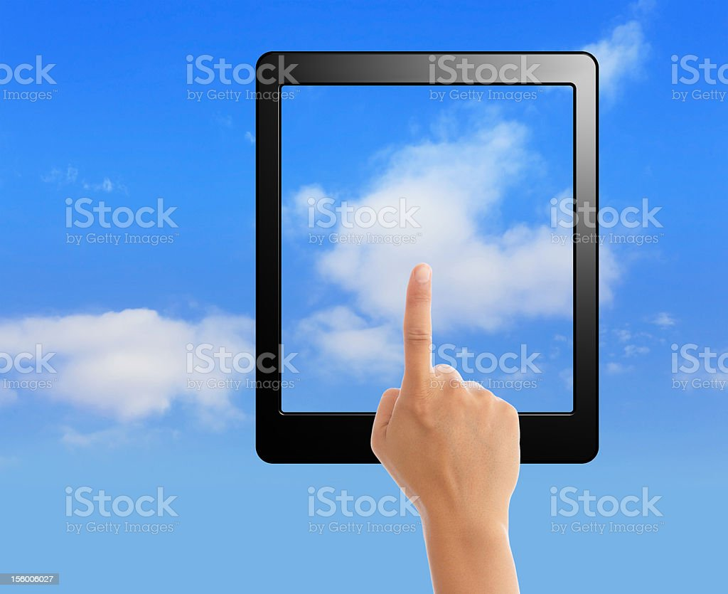 cloud computing and touch pad concept royalty-free stock photo