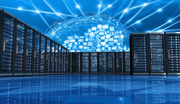 cloud computing applications linking computer servers in a data center - mainframe stock pictures, royalty-free photos & images