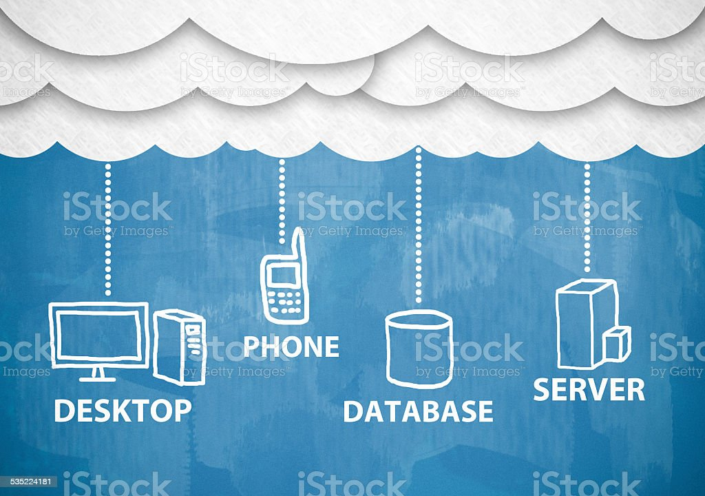Cloud computing / Blue chalkboard (Click for more) stock photo