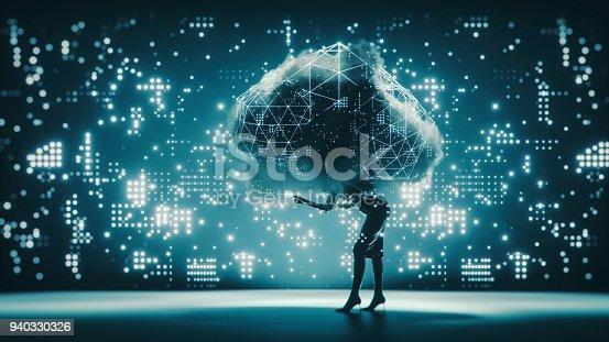 Cloud computing businesswoman conceptual image.