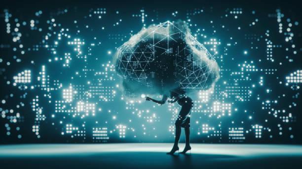 cloud computing geschäftsfrau konzeptbild - lernfortschrittskontrolle stock-fotos und bilder