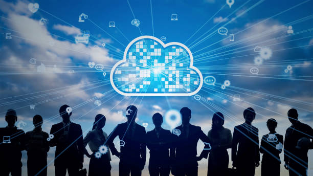 Cloud-Computing-Konzept. Kommunikationsnetz. Personalwesen. – Foto