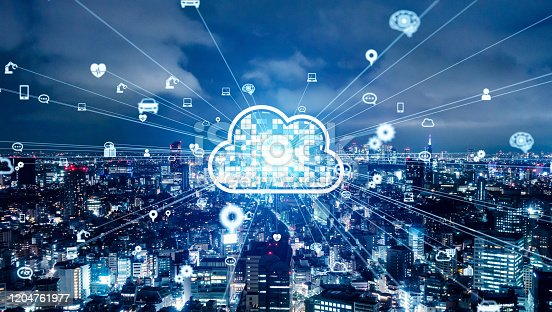 622809570 istock photo Cloud computing concept. Communication network. 1204761977