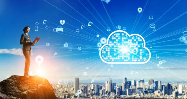 Cloud-Computing-Konzept. Kommunikationsnetz. – Foto