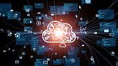 istock Cloud computing concept. Communication network. 1277731016