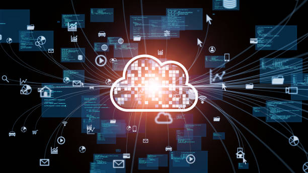 Cloud computing concept. Communication network. stock photo