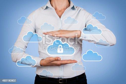 520592332istockphoto Cloud Computing Concept Data Security on Human Hand 493190902