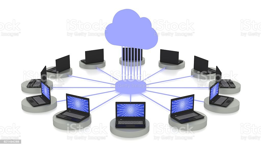 Cloud computing concept in white with connected laptops photo libre de droits