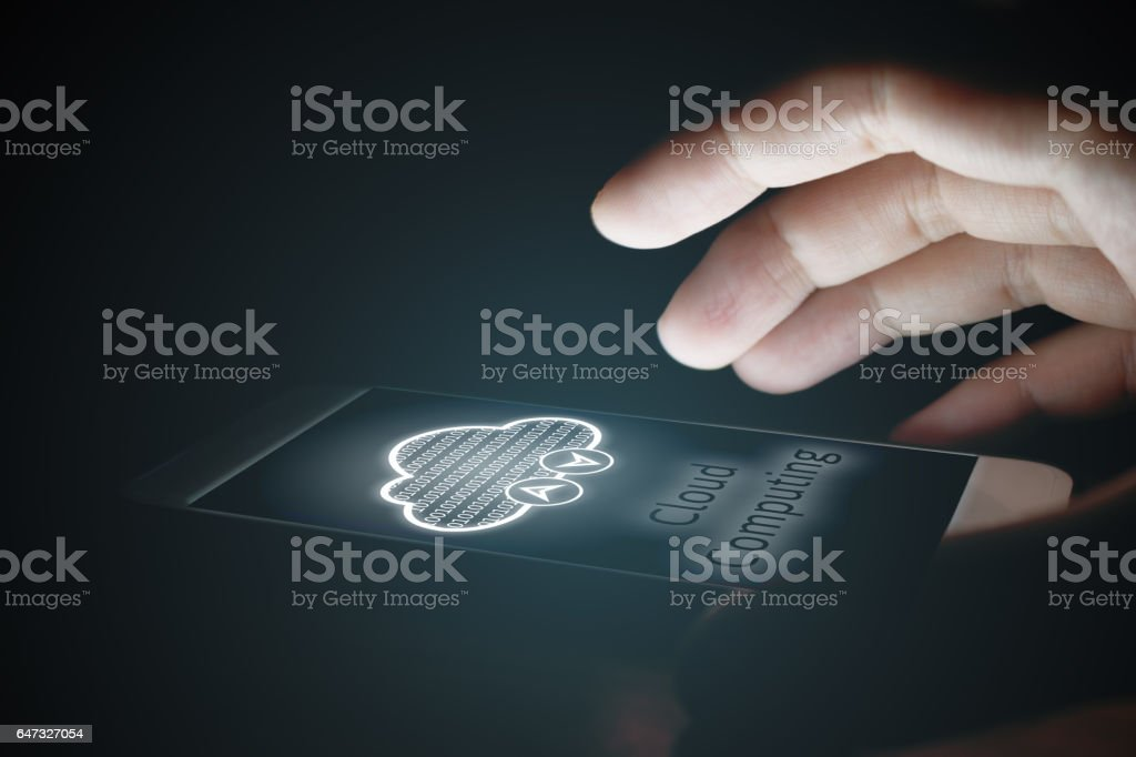 Cloud computing concept, Man using smartphone with virsual screen. stock photo