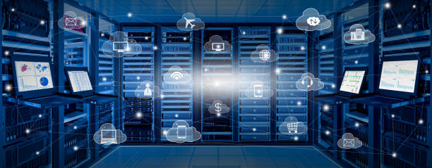 Cloud computing concept of cloud services icon with internet data center room stock photo