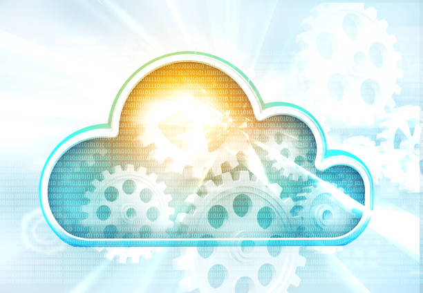 Cloud computing concept on futuristic technology background stock photo