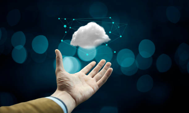 Cloud computing concept on man hand stock photo