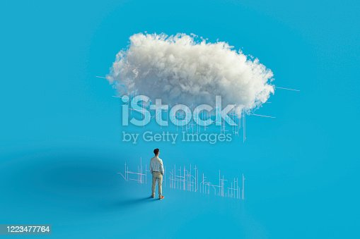 Cloud computing concept, this is entirely 3D generated image.