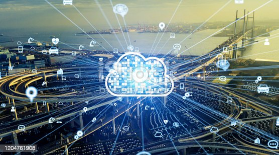 904420364 istock photo Cloud computing concept. Smart city. Communication network. 1204761908